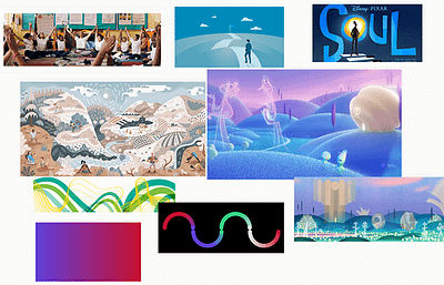 Mood board showing different themes, styles, illustrations to help inspire animation design