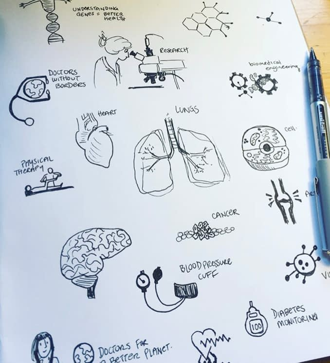 sketch page of health topics, research for graphic recording, preparing for visual note taking