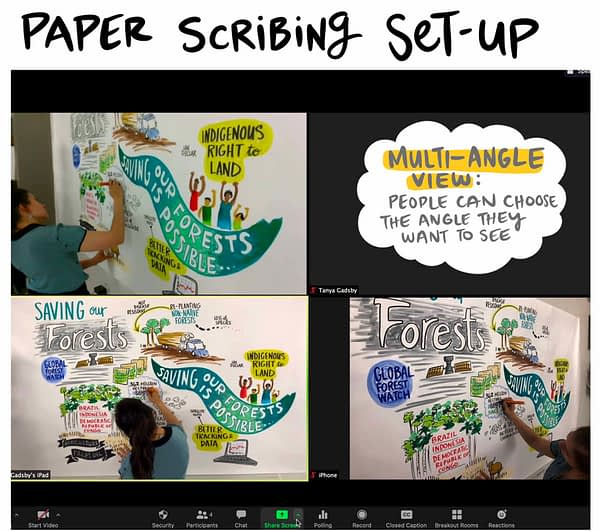 paper graphic recording in zoom, scribing an online meeting, graphic facilitation, fuselight, visual scribe