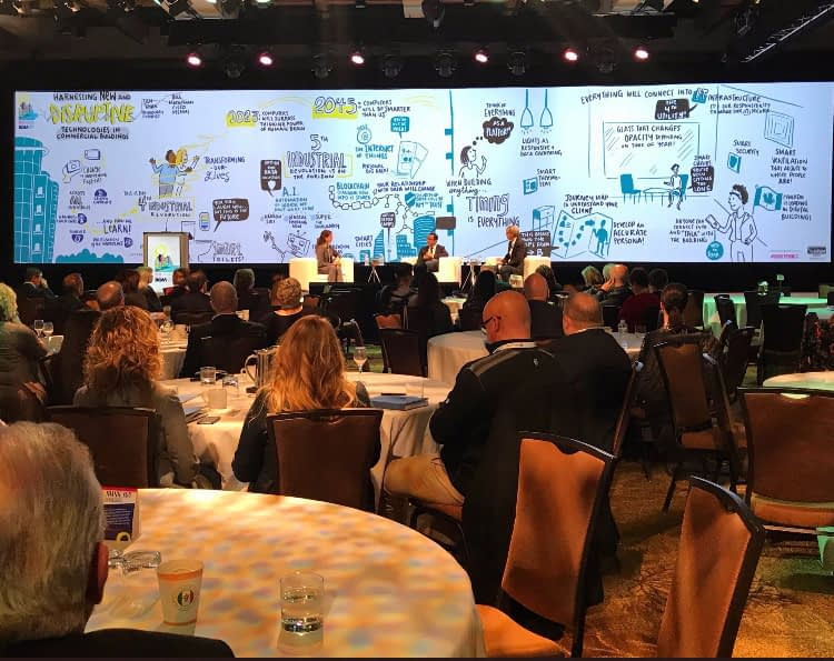 digital graphic recording large screen, hybrid event graphic recording, visual notes, live scribing, live drawing